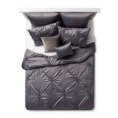 Gray Solid Satin Priscilla Comforter Set (Queen)8pc