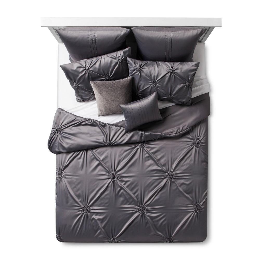 Gray Solid Satin Priscilla Comforter Set (King) 8pc