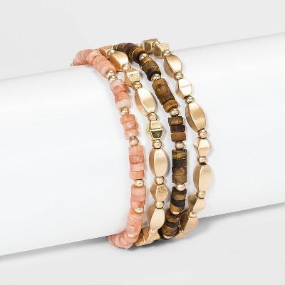 Semi-Precious Tiger eye with Worn Gold and Dyed Peach Stretch Bracelet - Universal Thread™ Brown/Peach