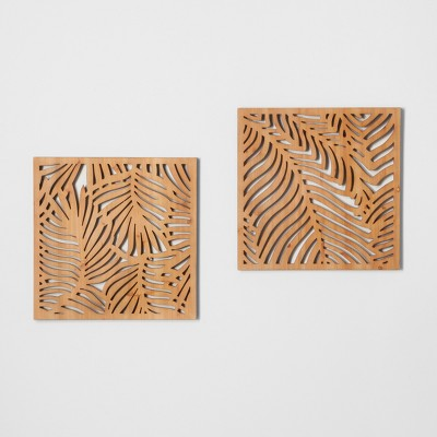 Natural Carved Wood 2pk Palm Leaf Wall Decor Brown - Opalhouse™