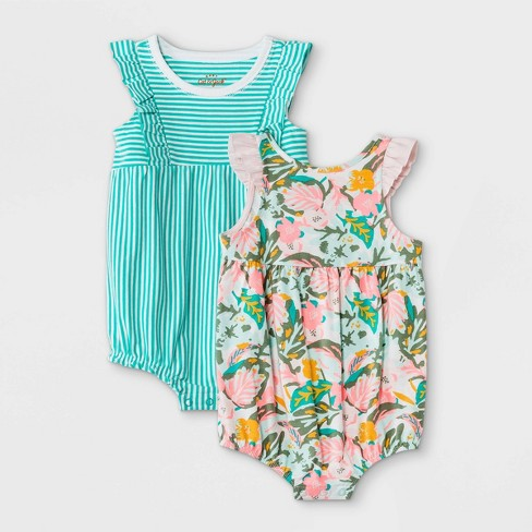 Baby Girls' 2pk Tropical Floral Striped Romper - Cat & Jack™ Green - image 1 of 2