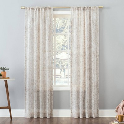 Bisset Marble Metallic Slub Textured Sheer Rod Pocket Curtain Panel - No. 918