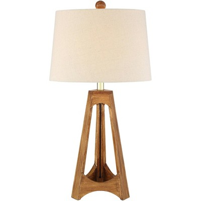 360 Lighting Mid Century Modern Table Lamp Tripod Wood Off White Oatmeal Drum Shade for Living Room Bedroom Bedside Nightstand