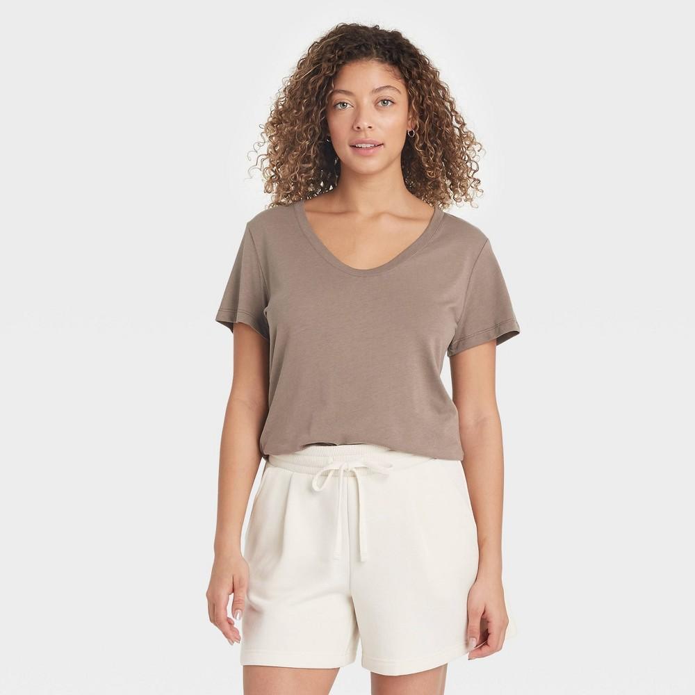 Women 39 S Short Sleeve Scoop Neck T Shirt A New Day 8482 Light Brown L
