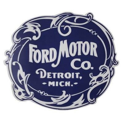 Ford Motor Co. Embossed Metal Sign Dark Blue - Crystal Art Gallery