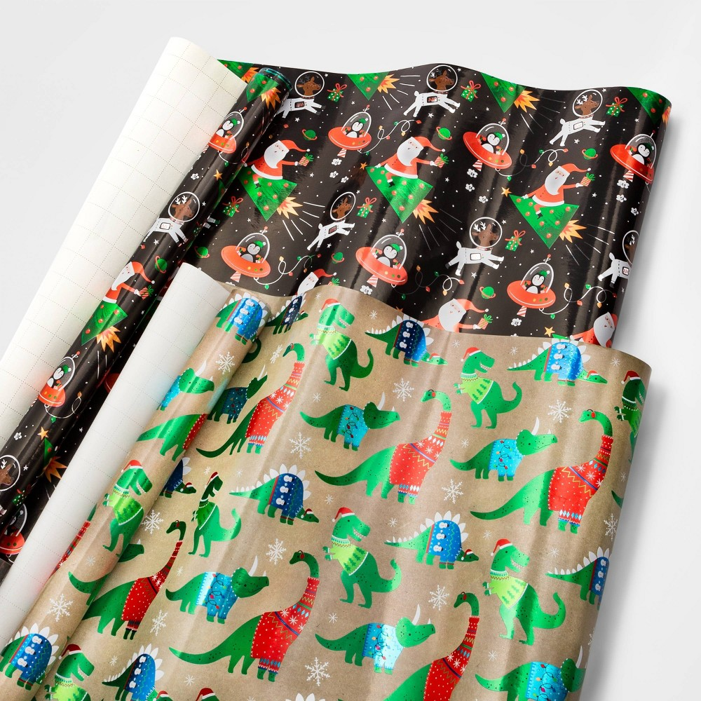 Image of 2ct Premium Dino & Santa Christmas Gift Wrap - Wondershop