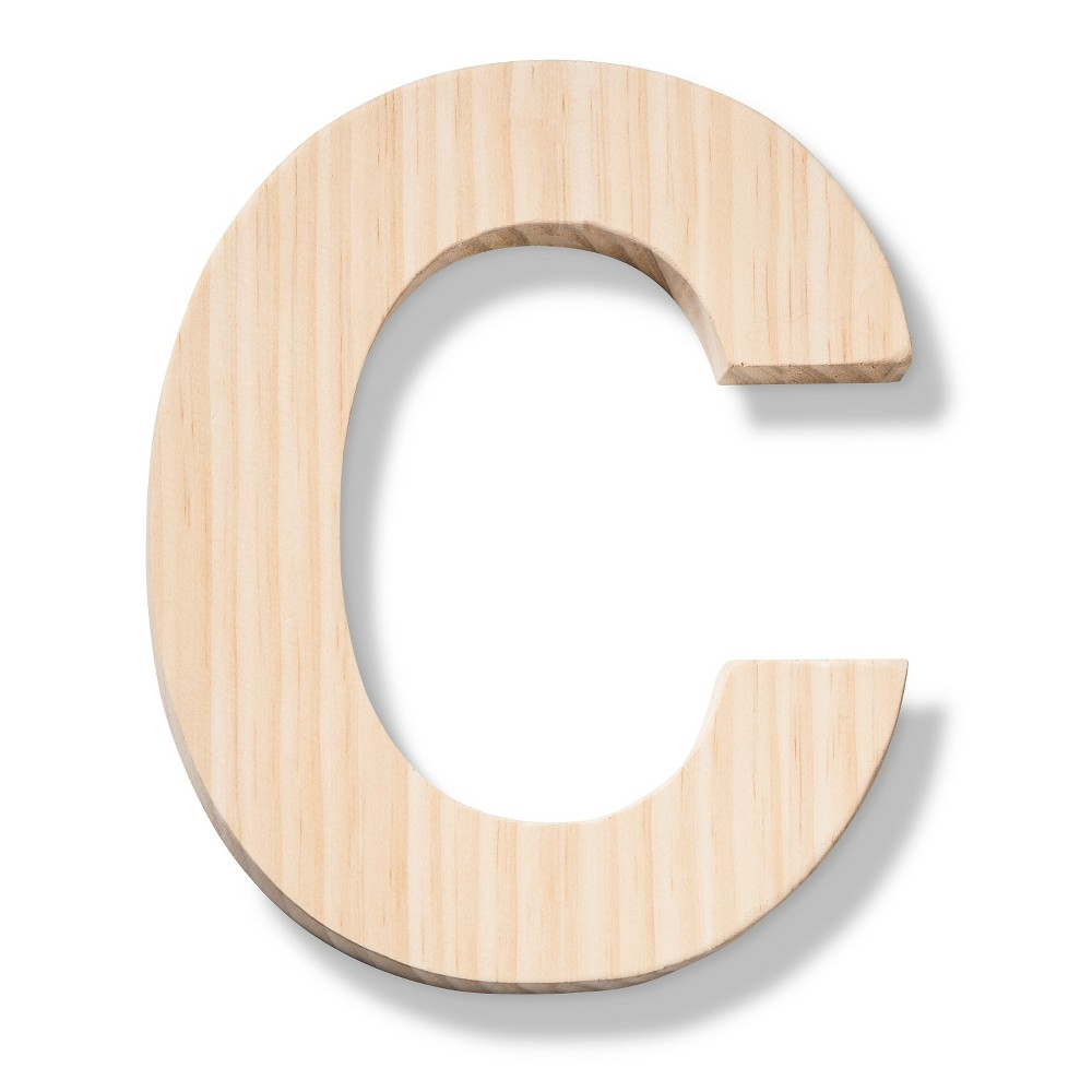 Hand Made Modern - Wood Letter Large - C, Neutral