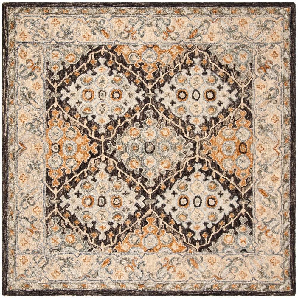 7x7 Medallion Tufted Square Area Rug Beigebrown Safavieh