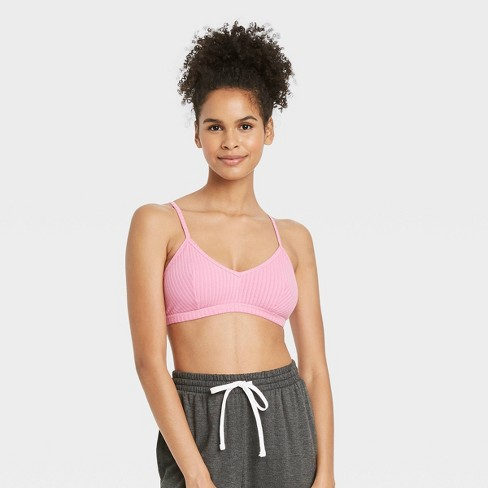Women's Ribbed Bralette - Colsie™ Pink - image 1 of 3