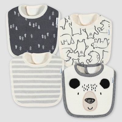 Gerber Baby Boys' 4pk Bear Bib - Cream/Gray
