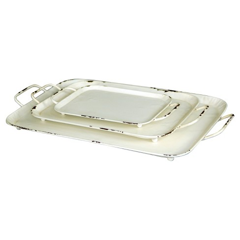 Decorative Metal Tray Set White 3pk - VIP Home & Garden - image 1 of 1