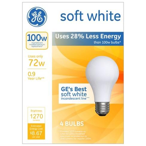Ge 100 Watt Energy Efficient Halogen Light Bulb 4 Pack Soft White Frosted