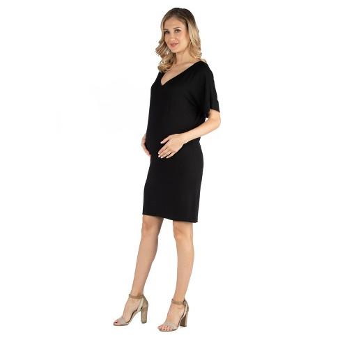24seven Comfort Apparel Women's Maternity Loose Fit T Shirt Dress - image 1 of 3