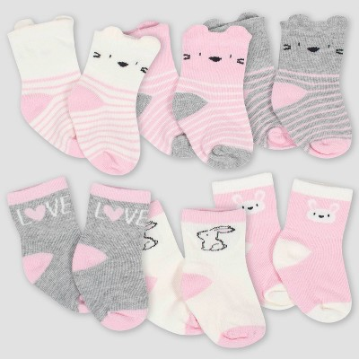Gerber Baby Girls' 6pk Bunny Jersey Crew Socks - White/Pink/Gray 6-9M