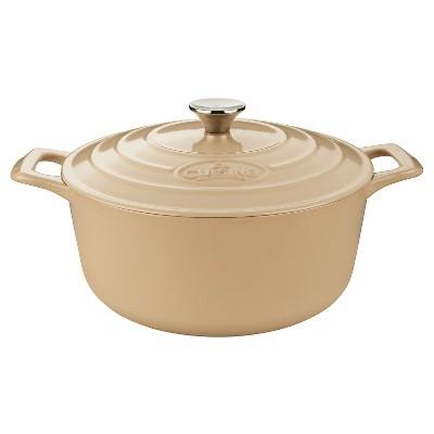 La Cuisine LC 5285 Round 6.5 Qt. Cast Iron Casserole - Cream