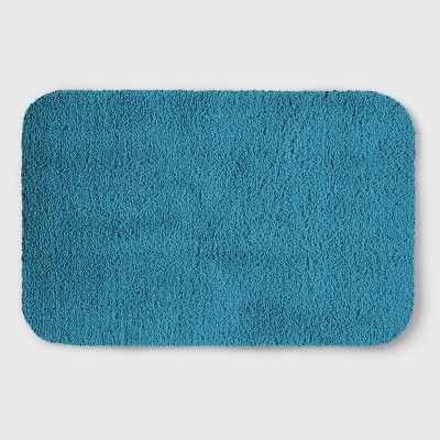 Perfectly Soft Solid Shag Bath Rug Teal Blue - Opalhouse™