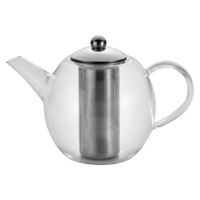 Bonjour Round Glass Teapot with Flavor Lock Infuser (34 oz)