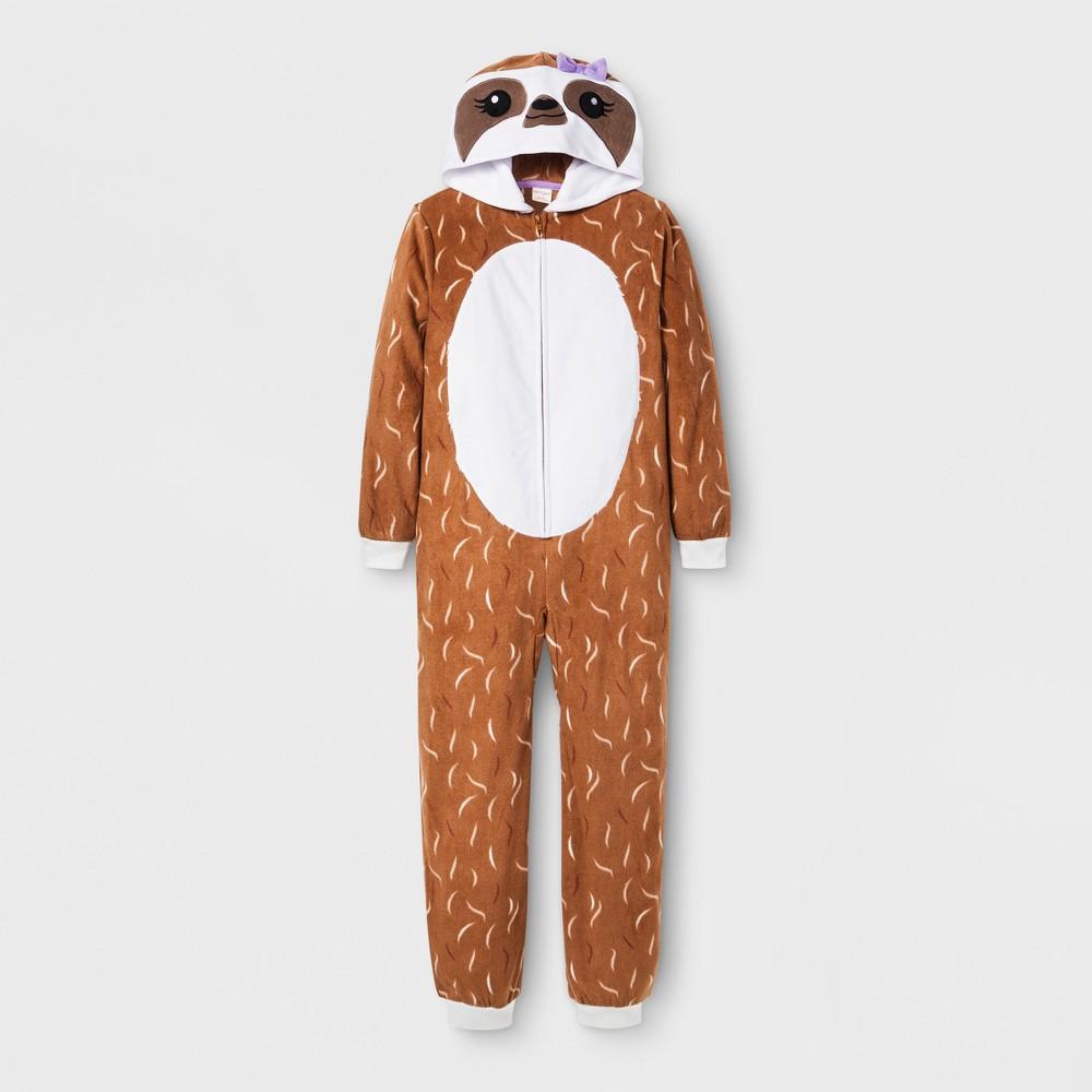 Girls' Sloth Graphic Hooded Blanket Sleeper - Cat & Jack Brown XL