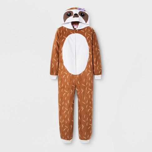 472f1cff9 Girls  Sloth Graphic Hooded Blanket Sleeper - Cat   Jack™ Brown   Target