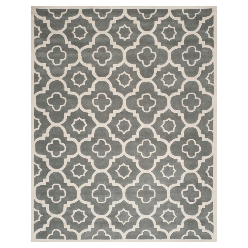 Dark Gray/Ivory Abstract Tufted Area Rug - (8'9x12') - Safavieh