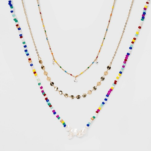 Freshwater Pearls and Cubic Zirconia Necklace Set - Wild Fable™ - image 1 of 4