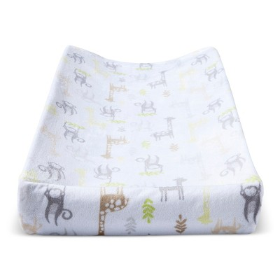 Plush Changing Pad Cover Monkeys & Giraffes - Cloud Island™ - Yellow