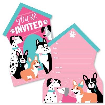 Big Dot of Happiness Pawty Like a Puppy Girl - Shaped Fill-in Invites - Pink Dog Baby Shower or Birthday Party Invite Cards with Envelopes - Set of 12