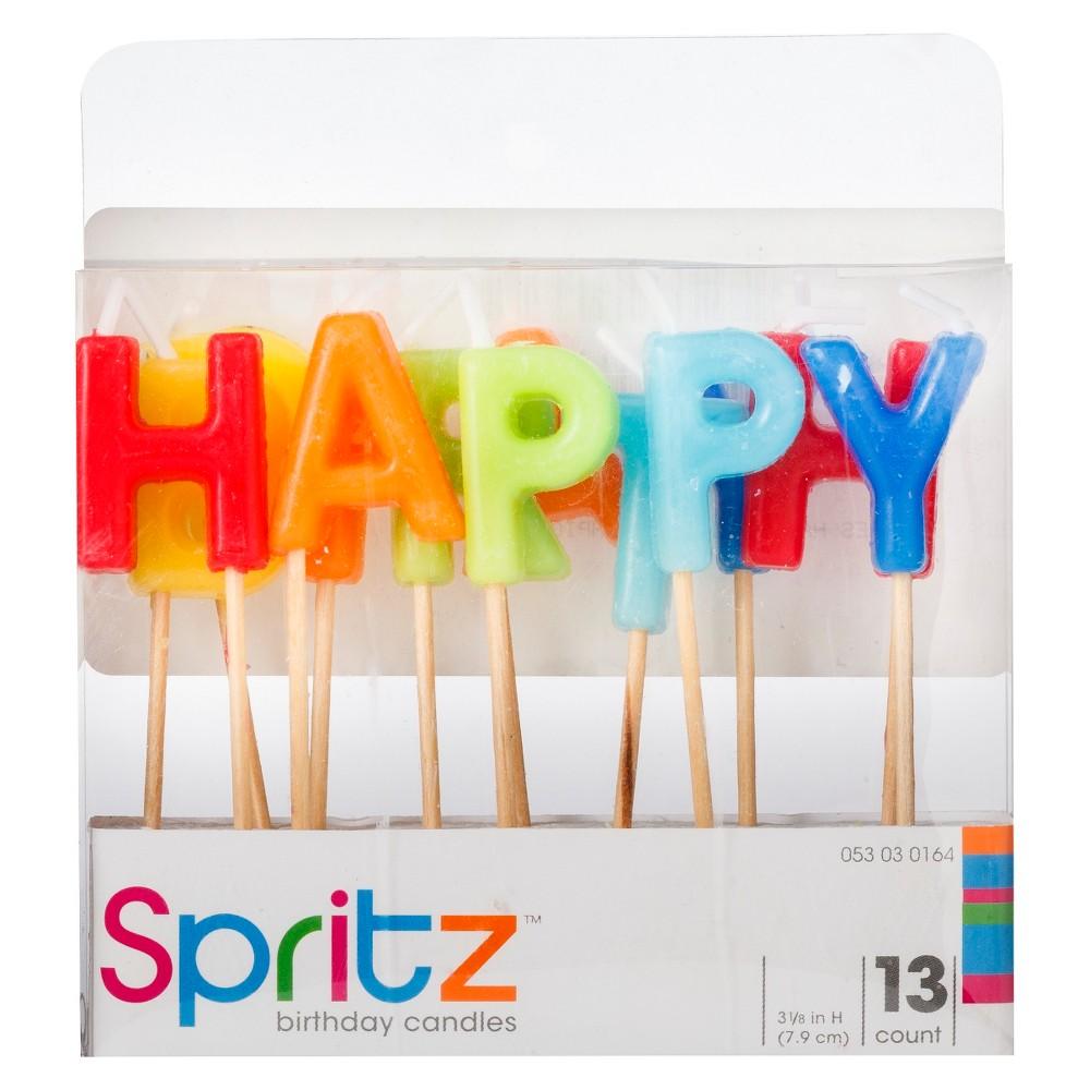 Image of 13ct Happy Birthday Pick Birthday Candle - Spritz