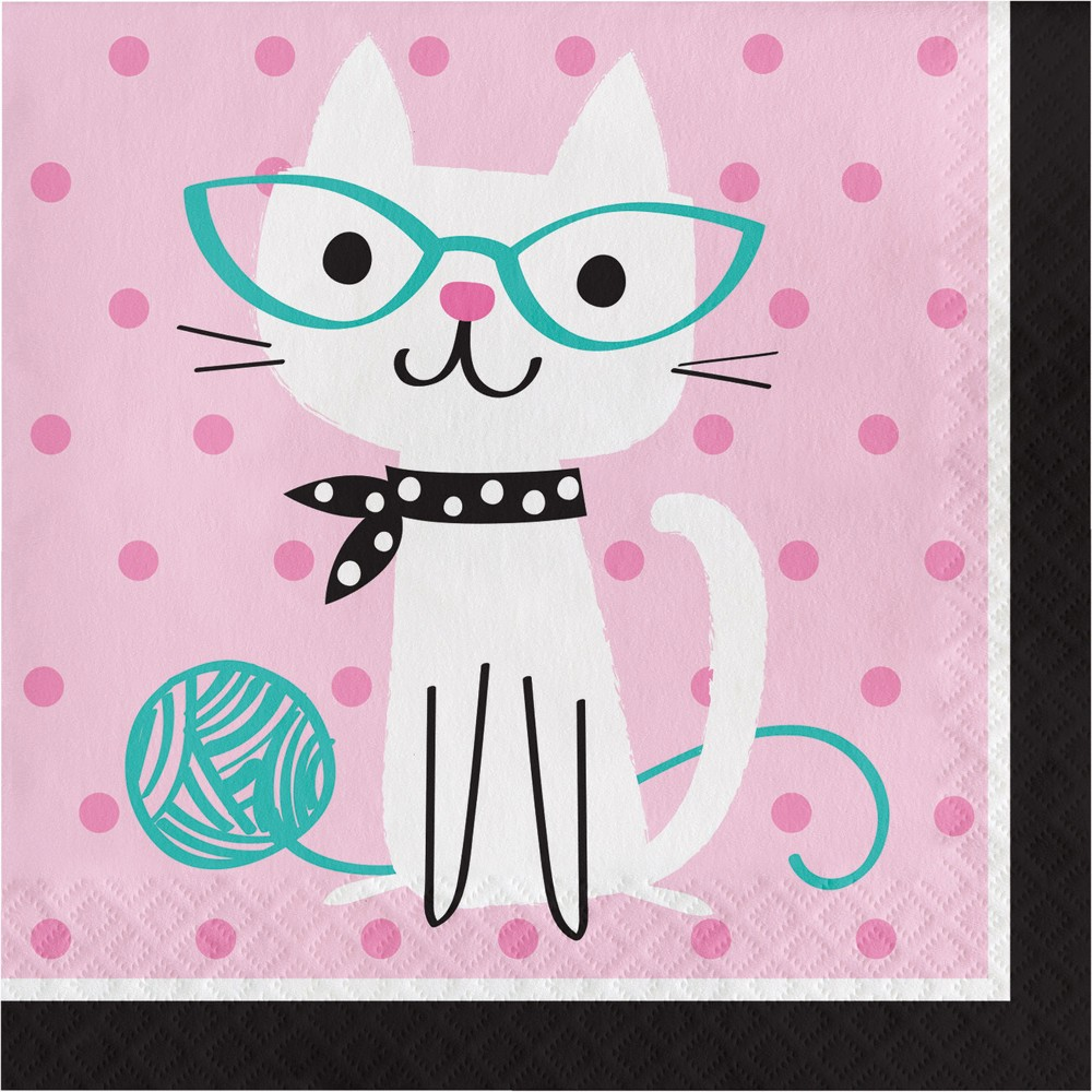 Image of 16ct Creative Converting Cat Party Napkins