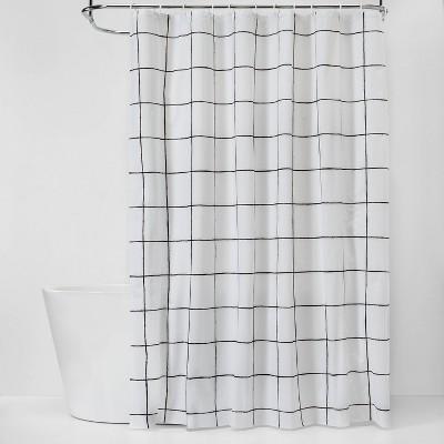 Windowpane Shower Curtain Bundle White/Black - Room Essentials™