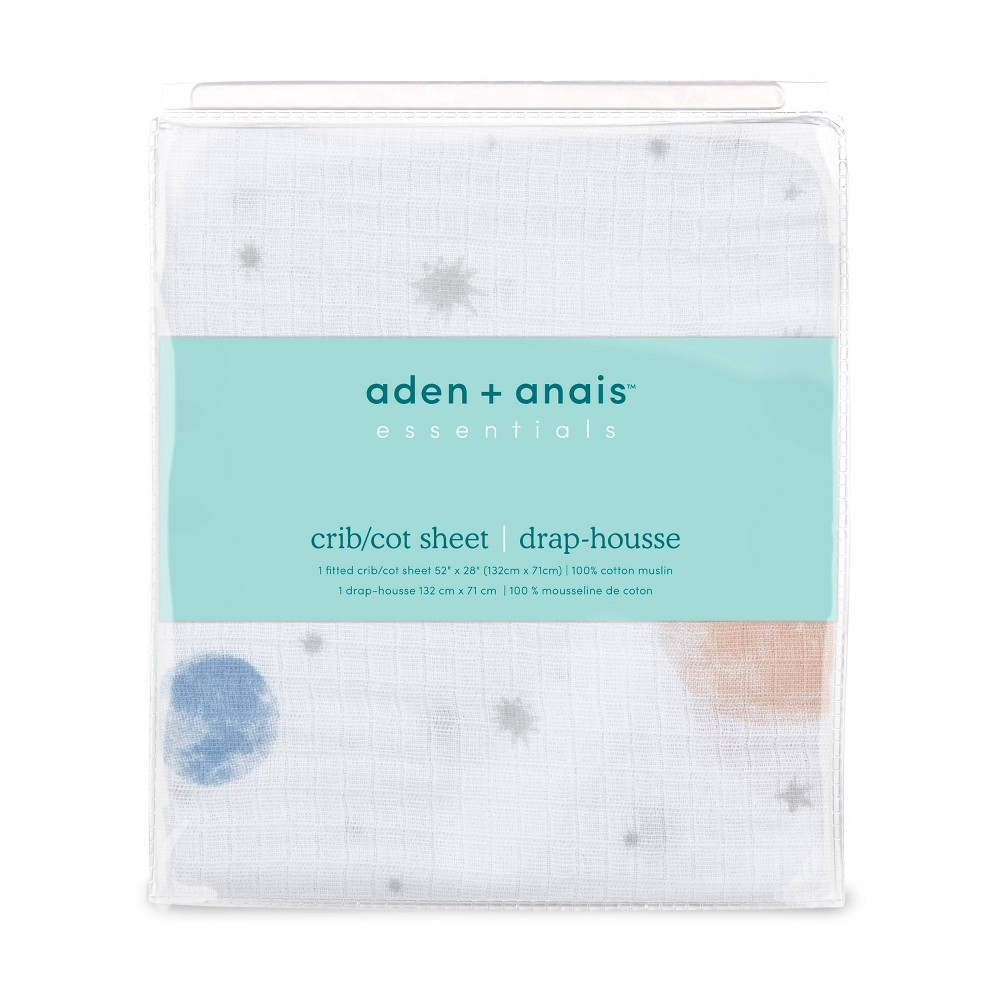 Image of Aden + Anais Essentials Classic Baby Fitted Crib Sheet - To The Moon Intergalactic - White