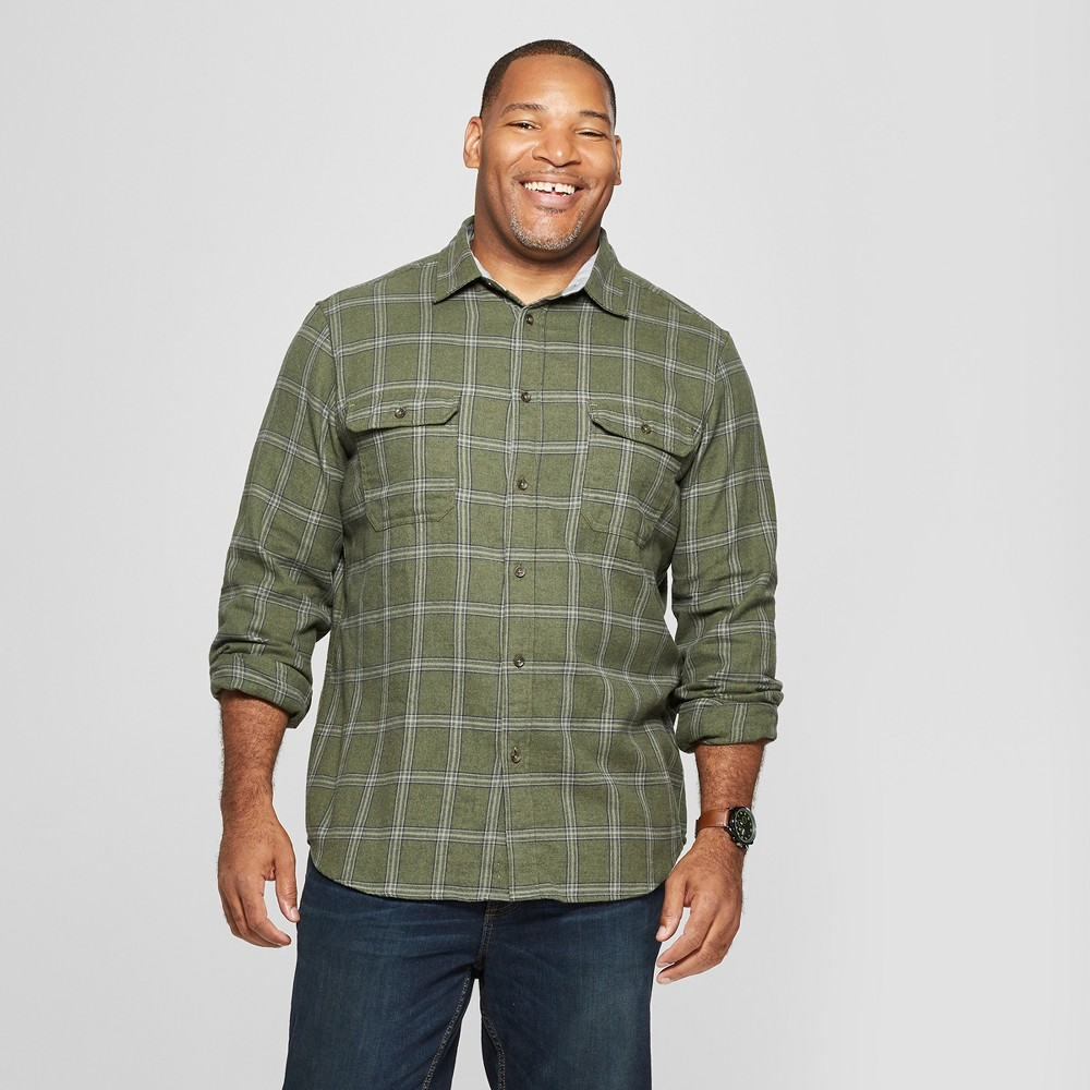 Men's Big & Tall Plaid Standard Fit Flannel Long Sleeve Button-Down Shirt - Goodfellow & Co Orchid Leaf 5XB