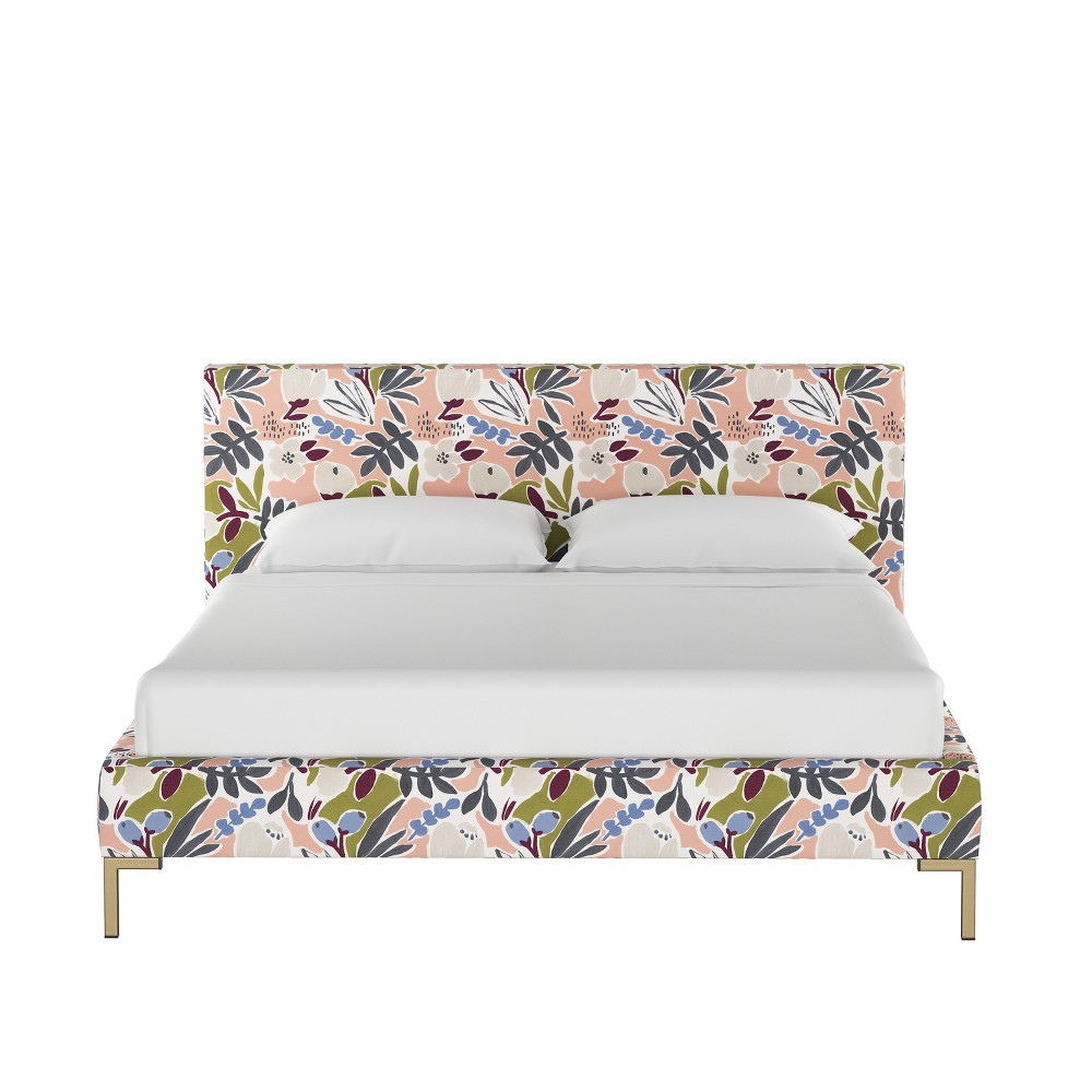 California King Daisy Platform Bed with Brass Metal Y Legs Peach Floral - Cloth & Co.