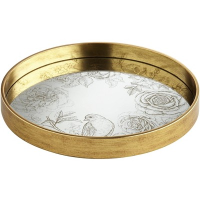 Dahlia Studios Floral Edge Painted Gold and White Round Decorative Tray