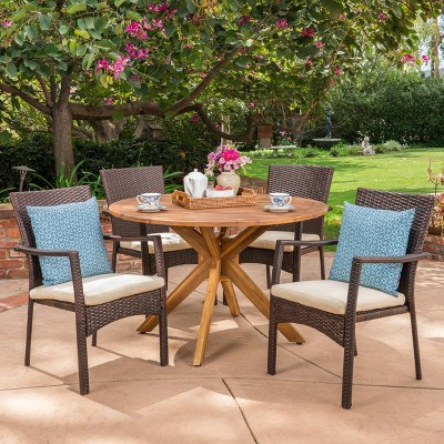 Stamford 5pc Acacia Wood & Wicker Patio Dining Set - Brown - Christopher Knight Home