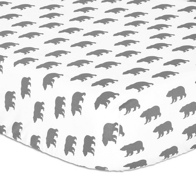 The Peanutshell Bear Fitted Crib Sheet Gray