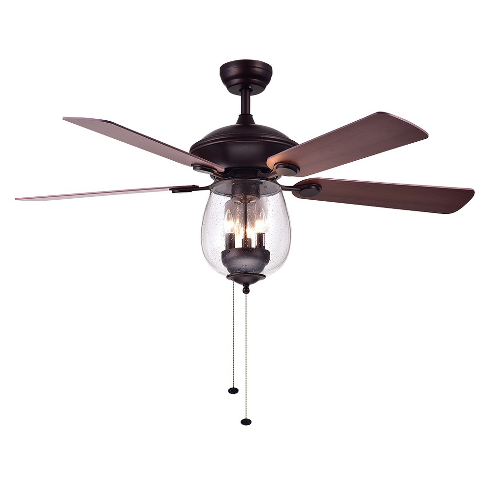 Warehouse Of Tiffany 26 X 21 X 19 Inch Toffee Lighted Ceiling Fans