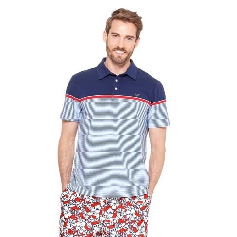 0b017c51d8 Men's Striped Short Sleeve Polo Shirt - Navy/Red - Vineyard Vines® For  Target : Target