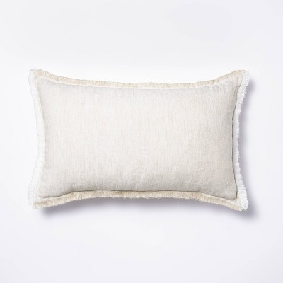 Lumbar Linen Throw Pillow with Contrast Frayed Edges White/Cream - Threshold™ designed with Studio McGee