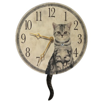 "18.5"" Cat Tail Pendulum Clock Cream/Gold - Infinity Instruments"