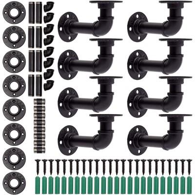 Farmlyn Creek 8 Pack Metal Industrial Pipe Shelf Brackets and Hardware (Black, 5.1 in)