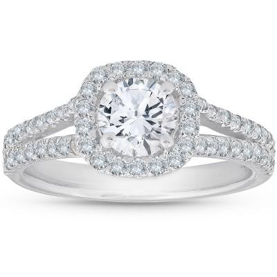 Pompeii3 1Ct Diamond Cushion Halo Moissanite Split Shank Engagement Ring 10k White Gold
