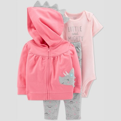 Baby Girls' 3pc Dino Cardigan Set - Just One You® made by carter's Pink 3M