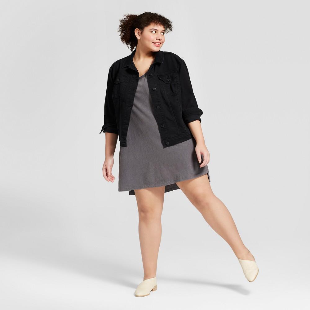 Women's Plus Size Short Short Sleeve Knit Shirtdress - Universal Thread Gray 1X