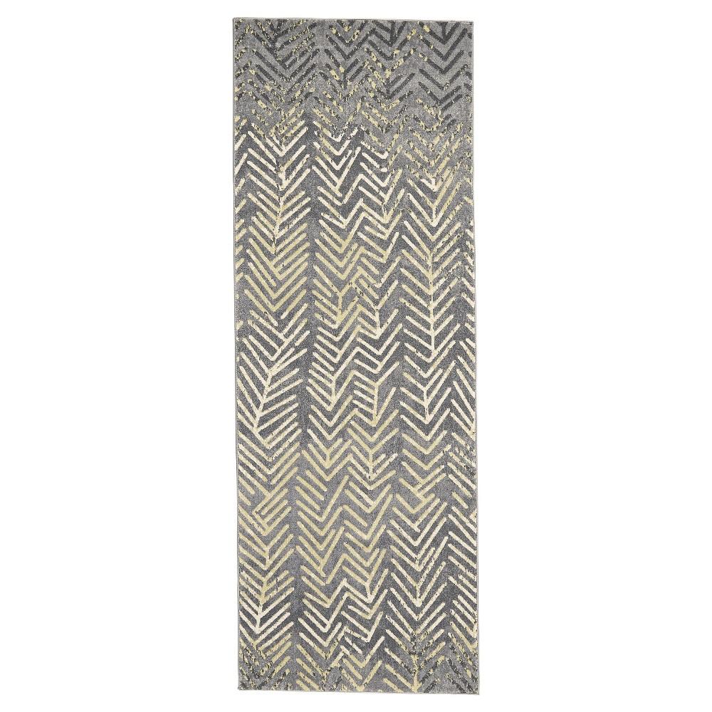 Runner Tribal Design Woven Rug Stone Gray