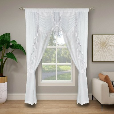 Kate Aurora Ultra Glam Beaded Sparkly Sheer Window in a Bag Curtain Set