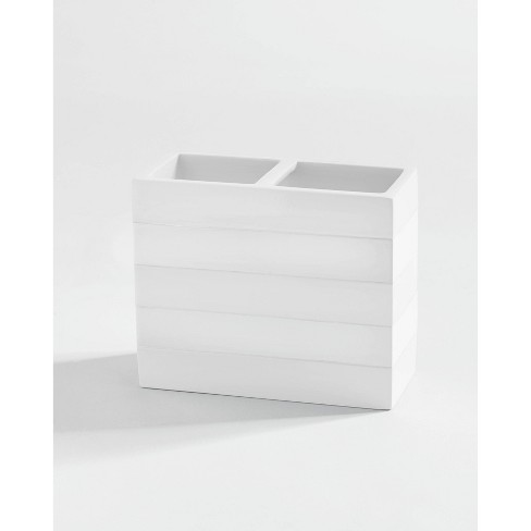 Lacquer Striped Toothbrush Holder White
