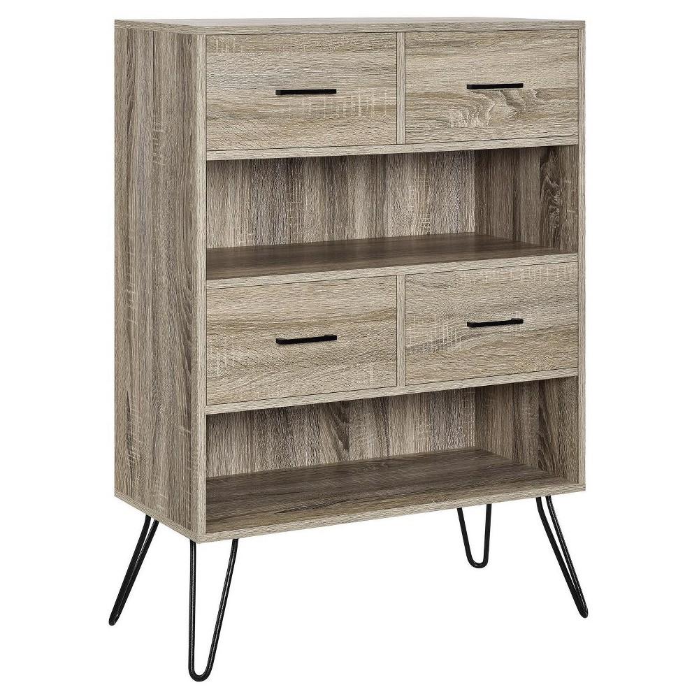 43 Seasons Retro Bookcase with Bins - Sonoma Oak (Brown) - Room & Joy
