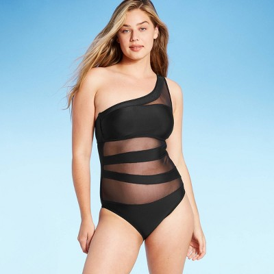 Women's Mesh Front One Shoulder One Piece Swimsuit - Shade & Shore™ Black