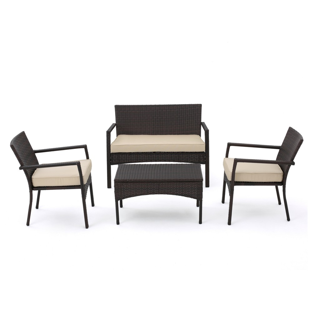 Cancun 4pc All-Weather Wicker Patio Chair Set - Brown - Christopher Knight Home